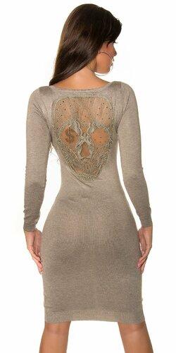 Pletené šaty s čipkovanou lebkou na chrbte Béžová