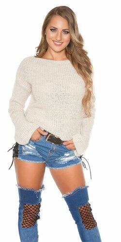 Pletený sveter so zvonovými rukávmi | Béžová