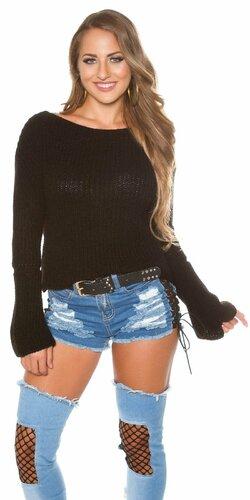 Pletený sveter so zvonovými rukávmi | Čierna