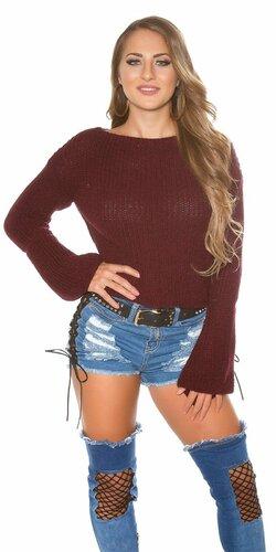 Pletený sveter so zvonovými rukávmi | Bordová