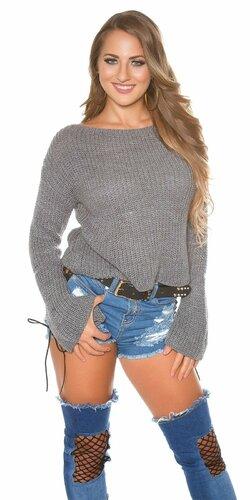 Pletený sveter so zvonovými rukávmi | Šedá