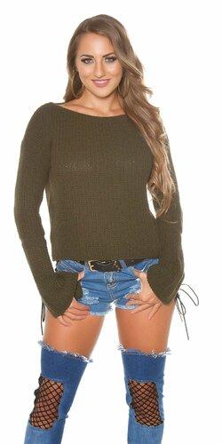 Pletený sveter so zvonovými rukávmi | Khaki