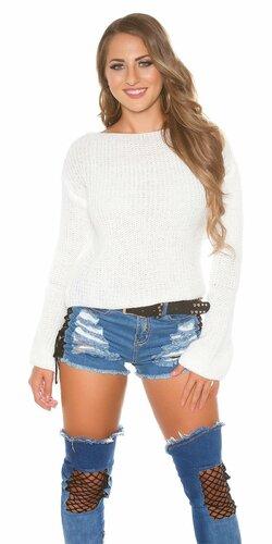 Pletený sveter so zvonovými rukávmi | Biela
