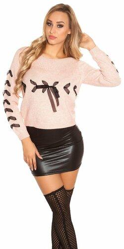 Pletený sveter so stuhami | Bledá ružová