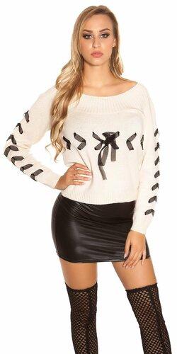 Pletený sveter so stuhami | Béžová