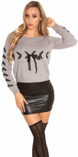 Pletený sveter so stuhami | Šedá