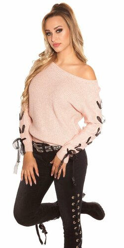 Pletený sveter so stuhami na rukávoch Bledá ružová