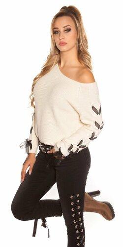 Pletený sveter so stuhami na rukávoch Béžová