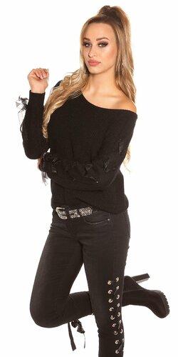 Pletený sveter so stuhami na rukávoch Čierna