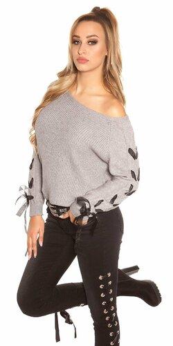 Pletený sveter so stuhami na rukávoch Šedá