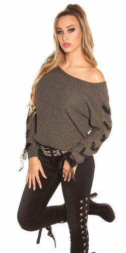 Pletený sveter so stuhami na rukávoch | Khaky