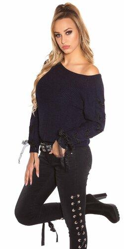 Pletený sveter so stuhami na rukávoch | Tmavomodrá