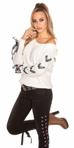 Pletený sveter so stuhami na rukávoch | Biela
