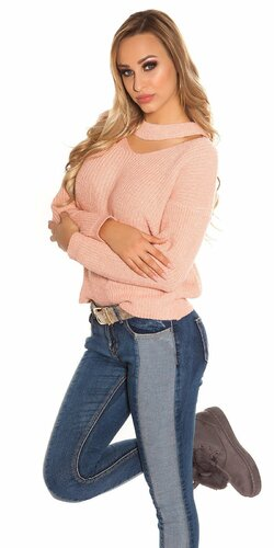 Pletený sveter KouCla Bledá ružová