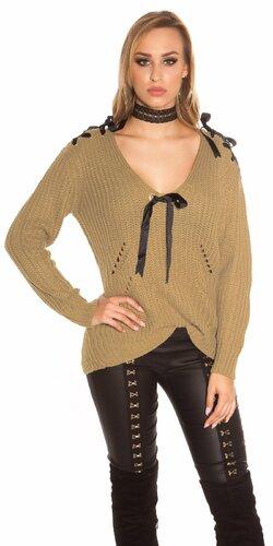 Pletený sveter so stuhami a ozdobnými dierami Cappuccino