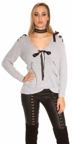 Pletený sveter so stuhami a ozdobnými dierami Šedá