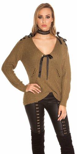 Pletený sveter so stuhami a ozdobnými dierami Khaky