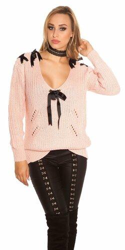 Pletený sveter so stuhami a ozdobnými dierami Bledá ružová