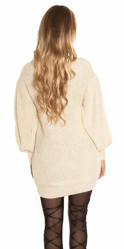 Dlhý sveter s voľnými rukávmi Béžová
