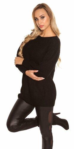 Dlhý sveter s voľnými rukávmi | Čierna