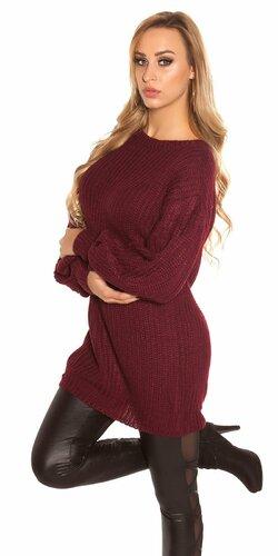 Dlhý sveter s voľnými rukávmi | Bordová