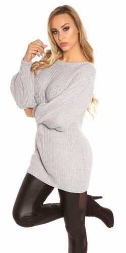 Dlhý sveter s voľnými rukávmi Šedá