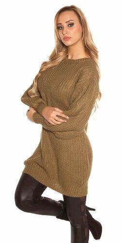 Dlhý sveter s voľnými rukávmi | Khaky