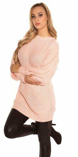 Dlhý sveter s voľnými rukávmi Bledá ružová