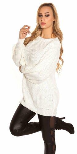 Dlhý sveter s voľnými rukávmi Biela