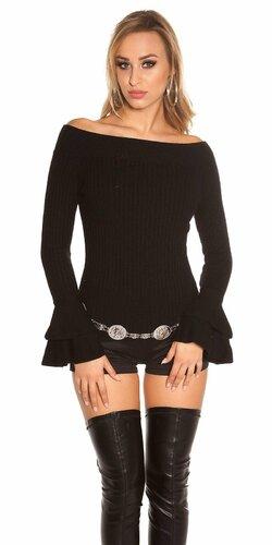 Vrúbkovaný pletený sveter s volánikmi na rukávoch Čierna