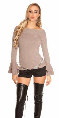 Vrúbkovaný pletený sveter s volánikmi na rukávoch | Cappuccino