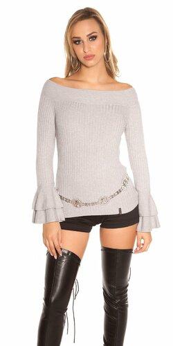 Vrúbkovaný pletený sveter s volánikmi na rukávoch Šedá