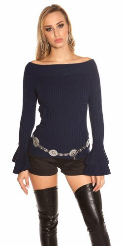 Vrúbkovaný pletený sveter s volánikmi na rukávoch | Tmavomodrá