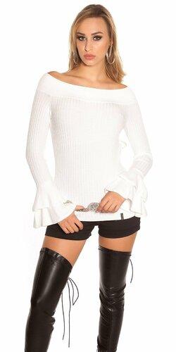 Vrúbkovaný pletený sveter s volánikmi na rukávoch | Biela