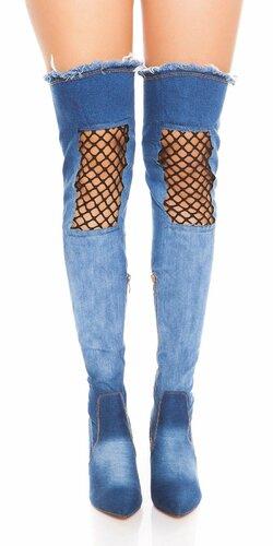 Džínsové čižmy nad kolená s čiernou sieťkou | Tmavomodrá