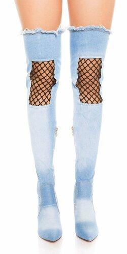 Džínsové čižmy nad kolená s čiernou sieťkou Modrá