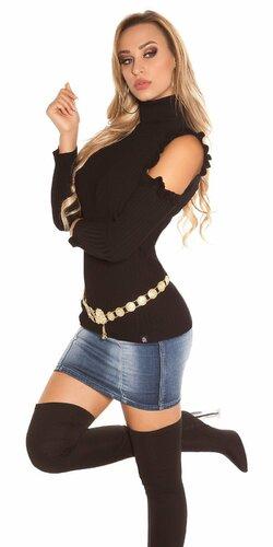 Rolákový vrubkovaný pulóver Čierna