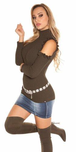 Rolákový vrubkovaný pulóver | Khaky