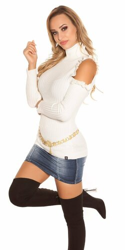 Rolákový vrubkovaný pulóver | Biela