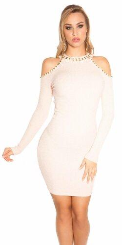 Pletené šaty s nitmi | Béžová