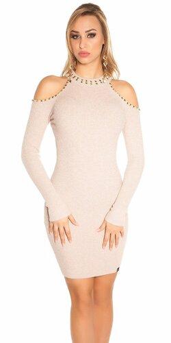 Pletené šaty s nitmi | Bledá ružová
