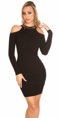 Pletené šaty s nitmi (Čierna)