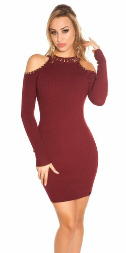 Pletené šaty s nitmi (Bordová)