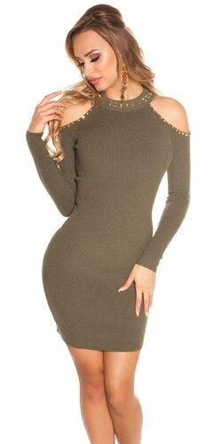 Pletené šaty s nitmi | Khaky