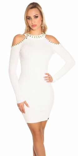 Pletené šaty s nitmi Biela