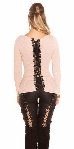 KouCla sveter so šnurovaním a čipkou Bledá ružová
