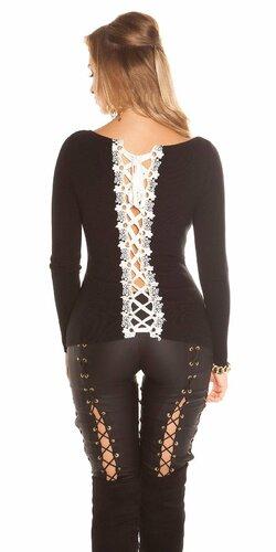 KouCla sveter so šnurovaním a čipkou | Čierna
