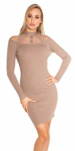 Vrúbkované pletené šaty so sieťkou | Cappuccino