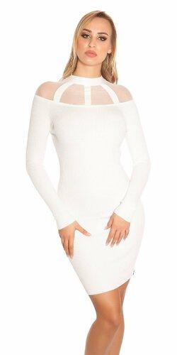 Vrúbkované pletené šaty so sieťkou | Biela
