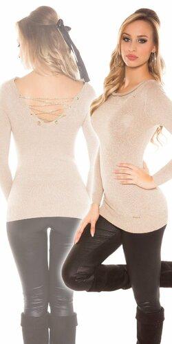 Dámsky sveter s retiazkami so žiarivým efektom Béžová